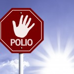 Stop Polio red sign with sun background