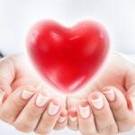 אשה מחזיקה צורה של לב בידיים